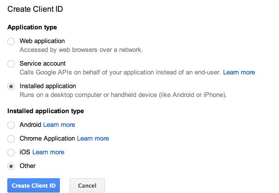 CreateClientIdForm in google api