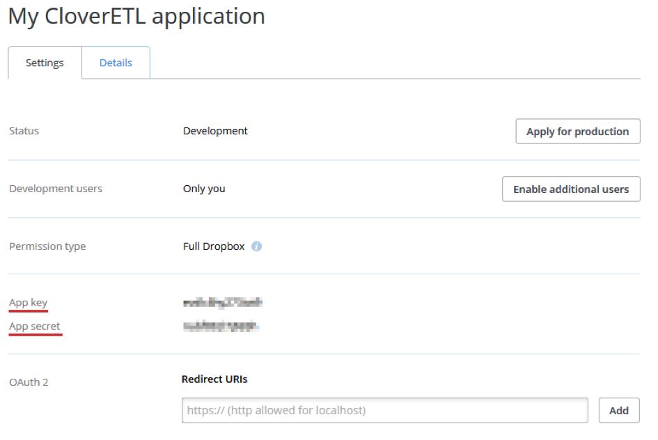 MyCloverETLapplication - Dropbox Core API