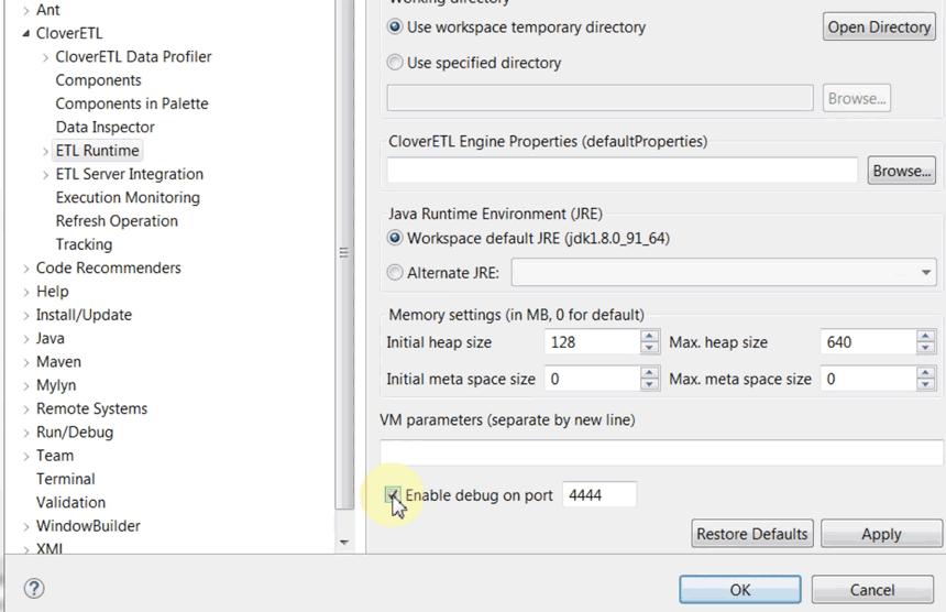 Enable Java debugging in CloverETL Designer's preferences