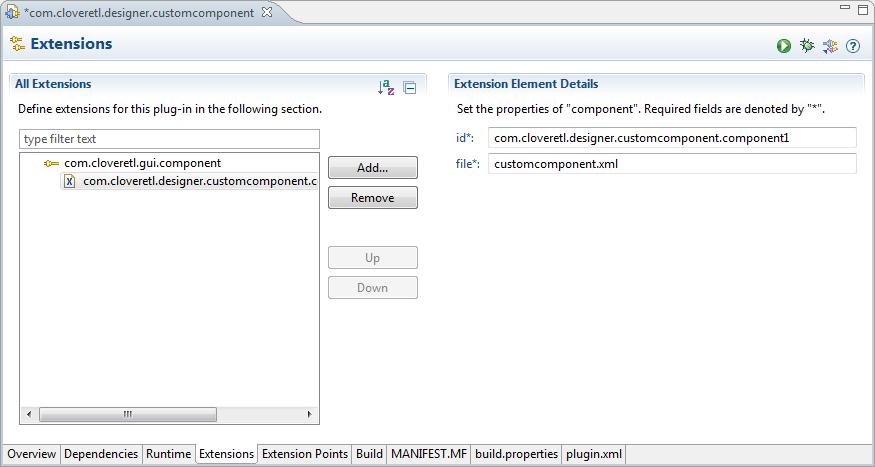 Add com.cloveretl.gui.component to Extensions
