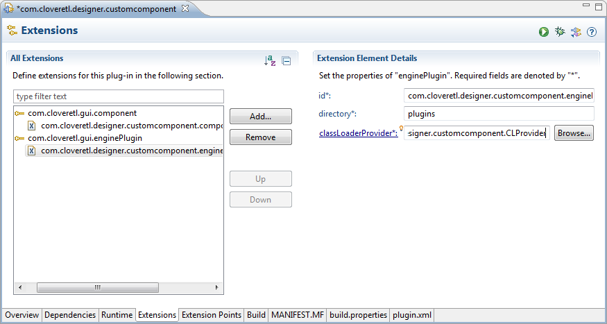 Add com.cloveretl.gui.enginePlugin to Extensions