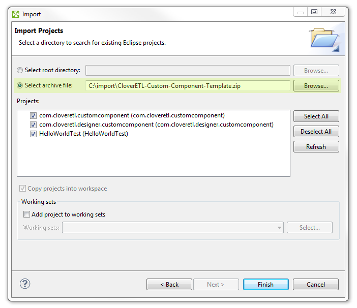 New Java Project wizard