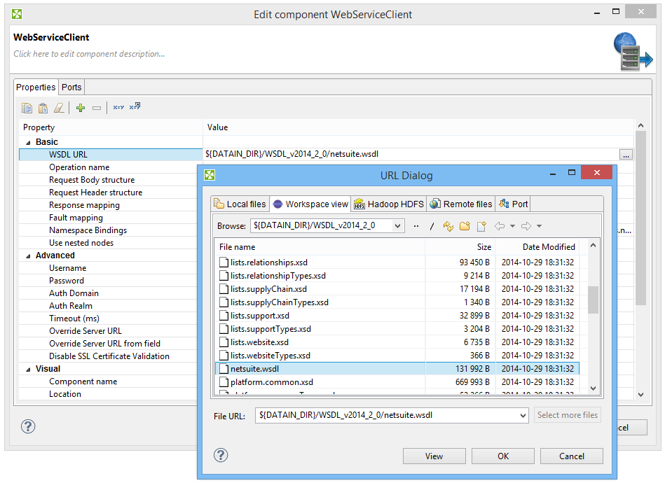 Setting up WSDL URL for getting data from NetSuite