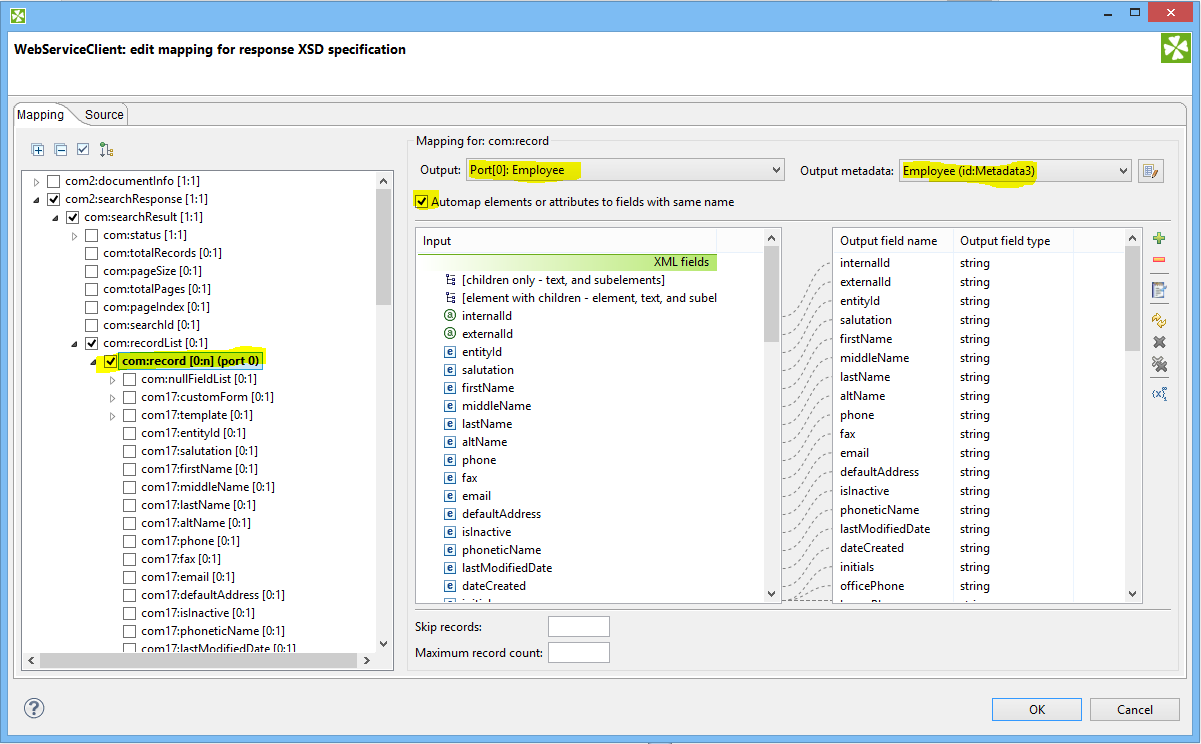 WebServiceClient auto mapping NetSuite API response